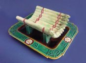 Rare Minton Majolica Aesthetic Movement Asparagus Cradle c1871